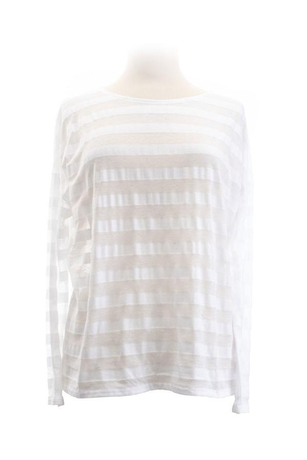 eigenart weites Shirt Streifen weiß