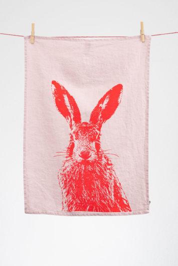 Geschirrtuch Hase pink