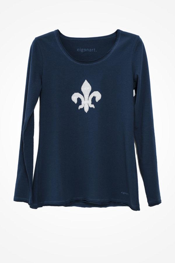 Lilien-Shirt-blau-weiss